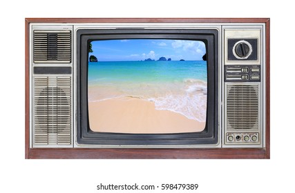 Retro television on white background with image of sand on the beach on screen