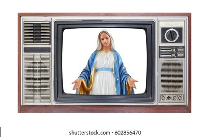 Retro television on white background with image of Statues of Holy Women on screen