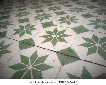 Retro Tiles Pattern For A Heritage House, Grungy Texture Background