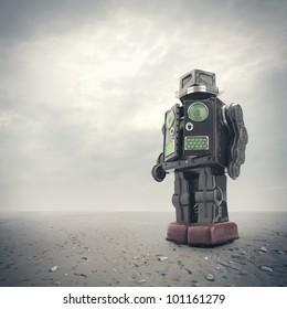 a  retro tin robot toy on an apocalyptic background