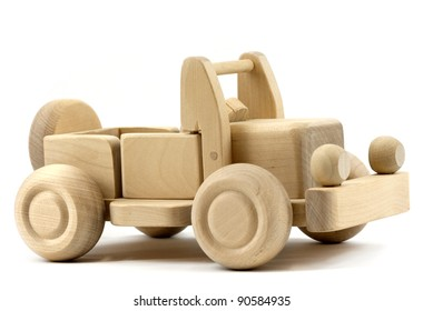 Retro toy car isolated on white background