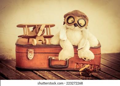 Retro toys. Travel and adventure concept