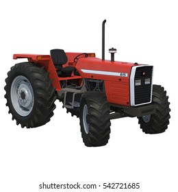 Retro Tractor on white. 3D illustration