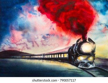 Retro train in winter with red smoke at night. Watercolor illustration. Watercolor painting.