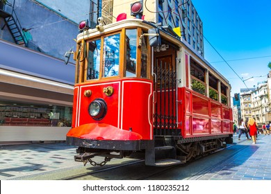 Retro tram on Taksim Istiklal Street  in Istanbul, Turkey in a summer day