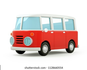 retro travel van in cartoon 3d style isolated on white