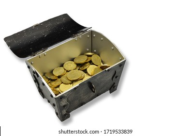 retro treasure chest filled with golden coins, closeup, isloated on white background