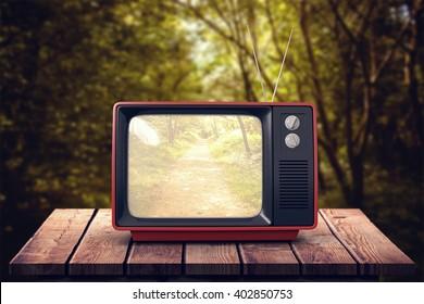Retro tv against path in woods
