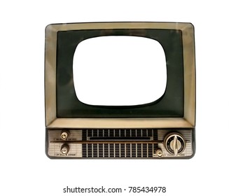 retro TV with blank screen on white background