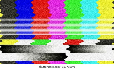 Retro TV color bars with TV snow and interference.