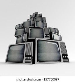 Retro TV in front with static on white background.