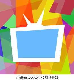 Retro TV on funny colorful abstract background