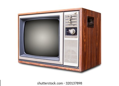 Retro tv with wooden case.