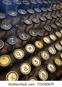 Retro typewriter. An old vintage typing machine with one button missing.