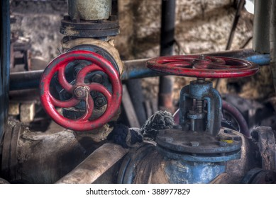 Retro valves in heavy industry factory in Gondang Baru, Indonesia