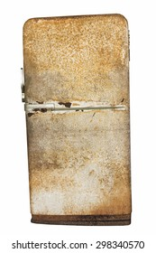 Retro very old rusted fridge refrigerator isolated on white background with clipping path