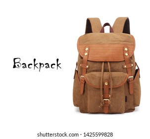 Retro Vintage Canvas Backpack Isolated on White. Satchel Rucksack with Zippered Compartment. Travel Camping Daypack Front View. Brown School Back Pack Bag with Shoulder Straps and Haul Loop at the Top