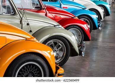 retro vintage car various colors exhibited