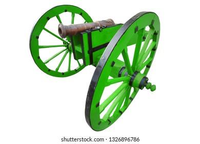 retro vintage gunpowder cannon dates to the 17th century isolated on white background