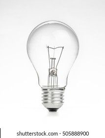 retro vintage light bulb with on white background, energy saving concept