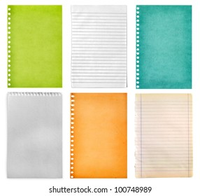 retro vintage pages ripped off from the notebook collection isolated on white