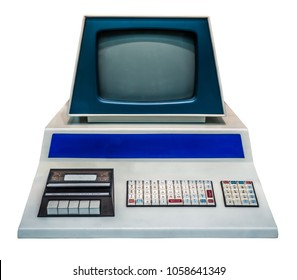 Retro Vintage Personal Computer (PC) With Keyboard, Monitor And Audio Cassette Desk