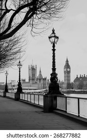 RETRO VINTAGE PHOTO FILTER EFFECT: Lamp on South Bank of River Thames with Big Ben and Palace of Westminster in Background, London, England, UK