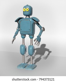 retro vintage robot; on a white background. 3D rendering.