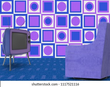 retro vintage room with television