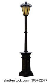 retro vintage street lamp isolated on white background