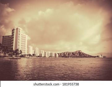 Retro Vintage Style Black And White Photo Of Waikiki Beach, Hawaii