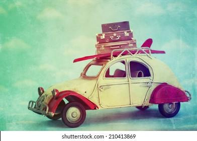Retro Vintage Tropical Surfboard Car
