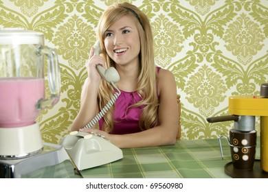 Retro vintage woman kitchen talking phone coffee cup wallpaper