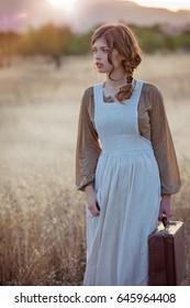 retro vintage woman servant traveling
