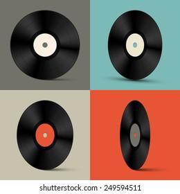 Retro Vinyl Records Set Illustration