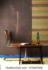 retro wall and retro chair vertical banner