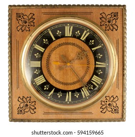retro wall clock isolated on white background