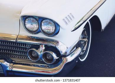 Retro white car old shiny close up