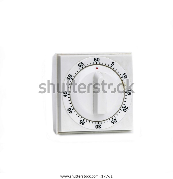 A retro white timer isolated on white with clipping path.