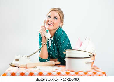 Retro woman doesn't  want to cook,she wants rather to talk on the phone,Who cares about cooking
