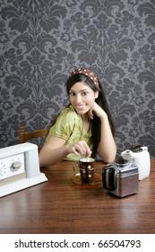 Retro woman drinking coffee on kitchen vintage wallpaper
