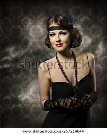 Retro Woman Hairstyle Portrait Elegant Lady Stock Photo Edit Now