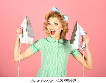 Retro woman ironing clothes, gender inequality. Everyday life, housework. Housekeeper in uniform with iron, household. Order services, wife, gender equality. Pinup woman hold iron, retro style, maid.