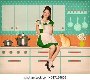 Retro woman sitting and holding a jug of milk in her hand in kitchen room