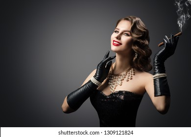 Retro Woman Smoking Cigar, Happy Fashion Model Beauty Portrait, Beautiful Girl Gloves, Luxury Pearl Jewelry