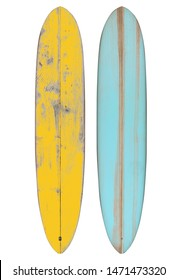 Retro wood longboard surfboard isolated on white with clipping path for object, vintage styles.