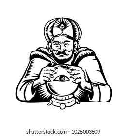 Retro woodcut style illustration of a fortune teller or crystal gazer with hands on crystal ball with eye viewed from front done in black and white.