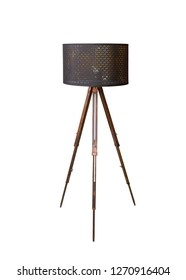 Retro wooden with black shade floor lamp tripod isolated on white background