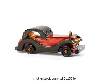 Retro wooden car  isolated on white background