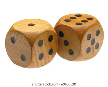 Retro wooden dice (6 and 1)